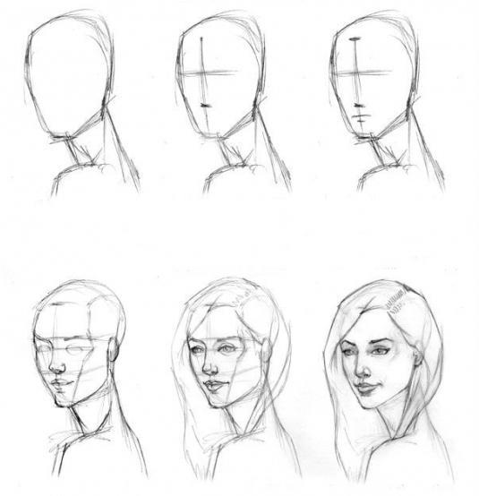 Поэтапные рисунки карандашом для начинающих человека