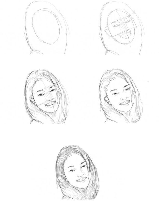 Поэтапные уроки рисования карандашом портретов