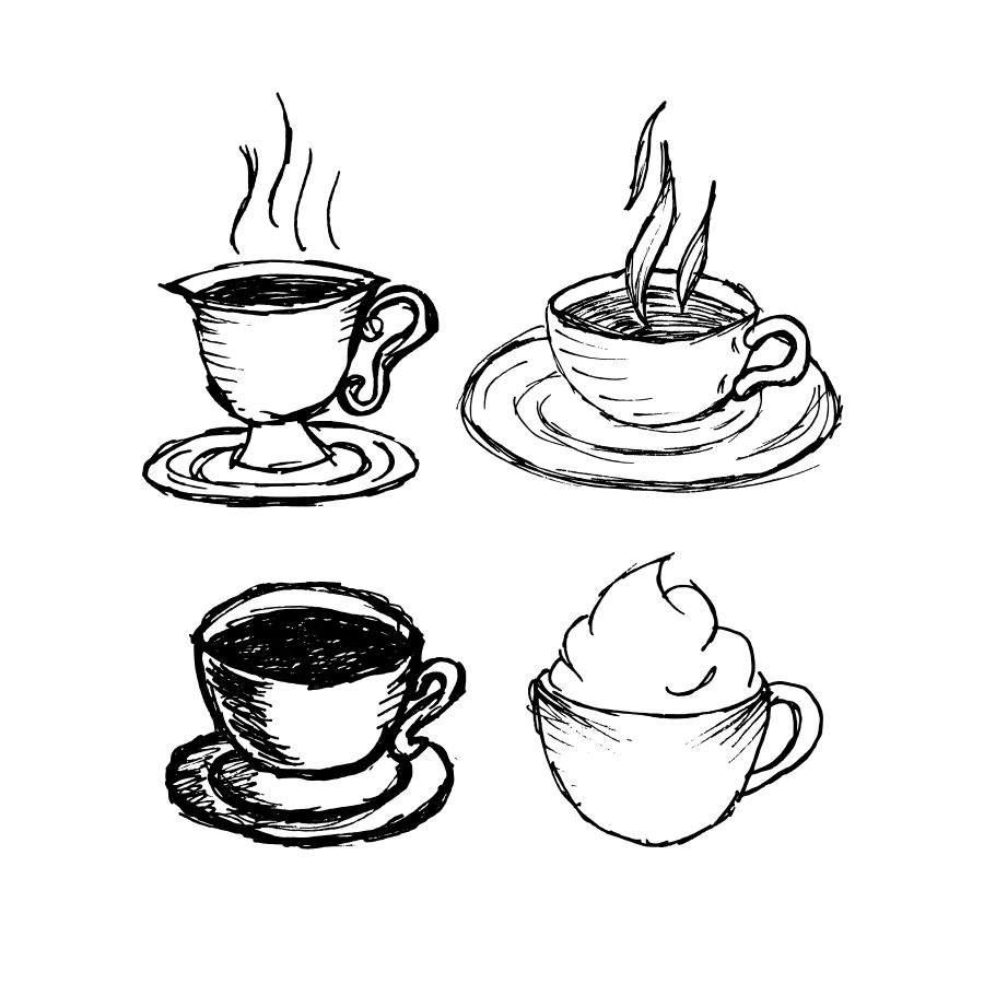 рисунки чашка кофе карандашом реакции