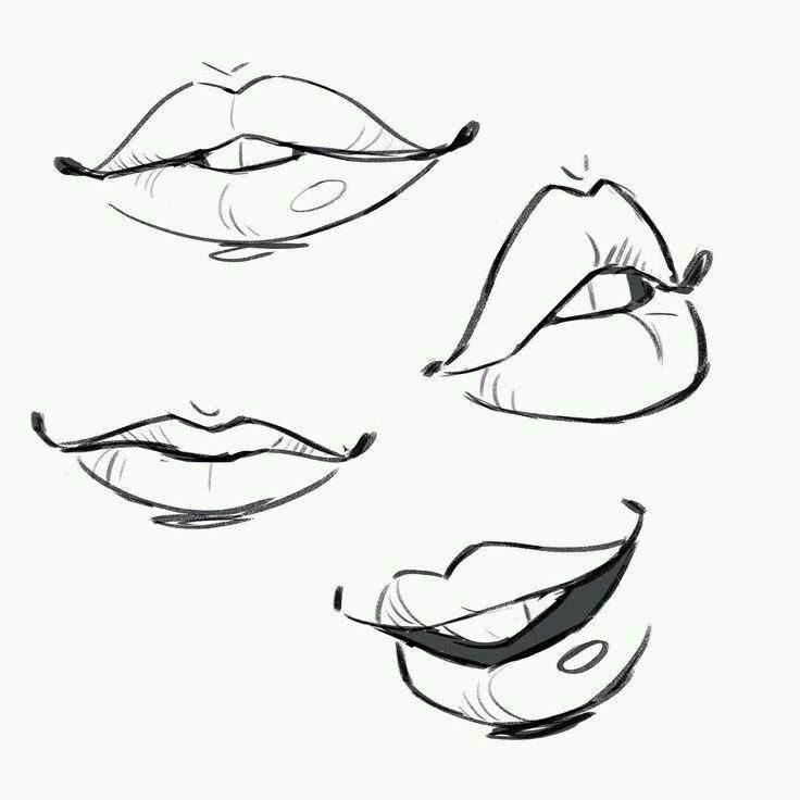 картинки рта карандашом боковых стенках
