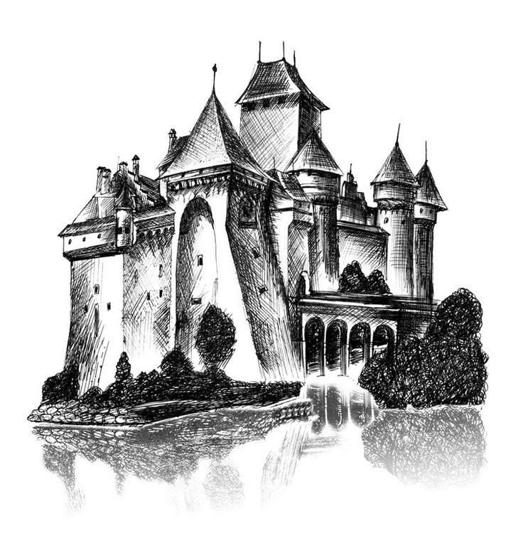 рисунки карандашом замок средневековье спектаклях театра решаются