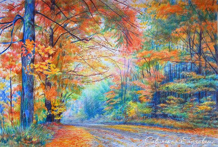 Пейзажи рисунок цветным карандашом